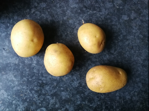 perfectly imperfect potatos on black surface