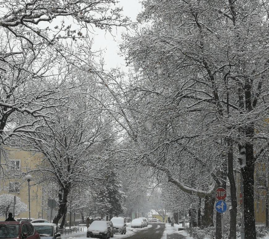 havas utca autók tél város